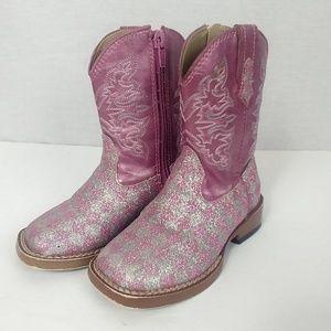 Roper Infant 6 Pink Silver Glitter Cowboy Boots